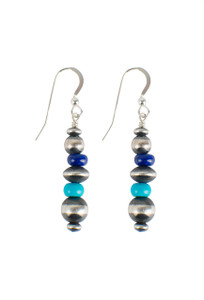 Turquoise Moon Sterling Silver Lapis and Turquoise Drop Earrings