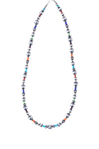 Turquoise Moon Sterling Silver Beads and Multi-Stone Necklace