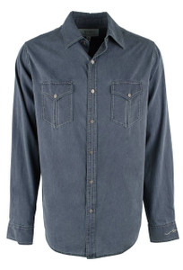 Ryan Michael Textured Stripe Snap Shirt - Lake - Front