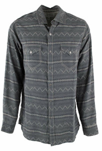 Ryan Michael Horizontal Stripe Jacquard Snap Shirt - Lake - Front