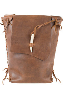 Steamboat Style Leather Saddle Bag - Front