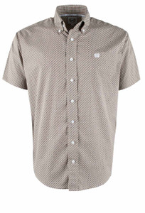 Cinch Khaki Diamond Print Short Sleeve Shirt