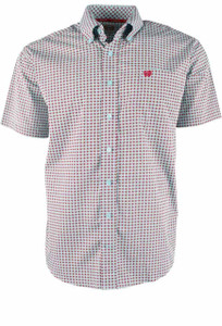Cinch Light Blue and Burgundy Foulard Print Short Sleeve Shirt