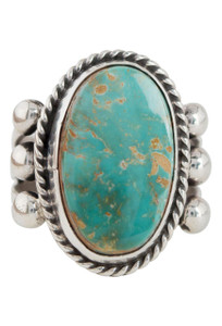 Turquoise Moon Green Turquoise Oval Ring - Size 7 - Front