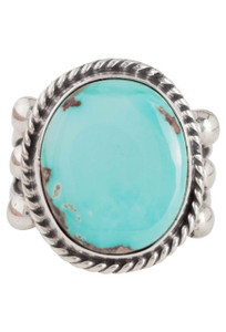 Turquoise Moon Blue-Green Turquoise Round Ring - Size 7 - Front