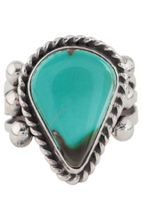 Turquoise Moon Green Turquoise Teardrop Ring - Size 7 3/4 - Front