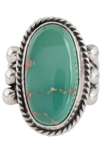 Turquoise Moon Green Turquoise Oval Ring - Size 6 3/4 - Front