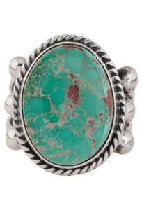 Turquoise Moon Green Turquoise with Matrix Ring - Size 7 - Front