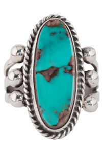 Turquoise Moon Blue Turquoise with Matrix Ring - Size 8 - Front