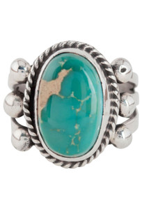 Turquoise Moon Green Turquoise with Matrix Ring - Size 8 - Front