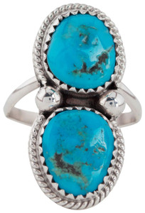 Turquoise Moon 2-Stone Blue Turquoise Ring - Size 7 - Front