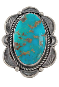 Turquoise Moon Kingman Blue Turquoise Oval Ring - Size 10 - Front