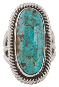 Turquoise Moon Blue Turquoise with Matrix Ring - Size 7 1/2 - Front
