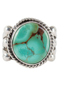 Turquoise Moon Green Turquoise with Matrix Ring - Size 8 3/4 - Front