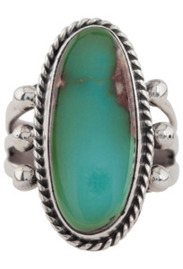 Turquoise Moon Green Turquoise Oval with Matrix Ring - Size 8 3/4  - Front