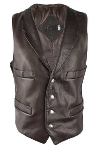 Jose Luis Brown Italian Calf Leather Vest - Front