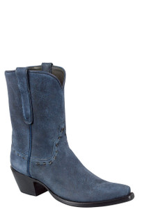 Stallion Women's Vintage Navy Distressed Lamb Suede Boots - Hero