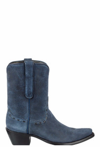 Stallion Women's Vintage Navy Distressed Lamb Suede Boots - Side