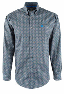 Cinch Gray Foulard Print Shirt - Front
