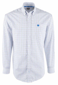 Cinch Gray White Plain Weave Check Shirt - Front