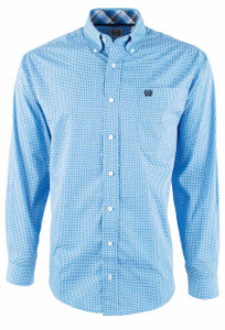 Cinch Royal Mini Diamond Print Shirt - Front