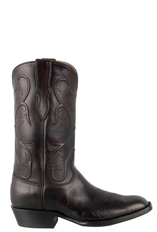 Black Jack for Pinto Ranch Men's Black Cherry Goat Boots -Side