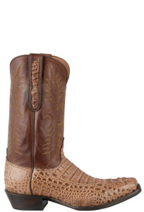 Black Jack for Pinto Ranch Men's Glossy Cigar Hornback Caiman Headcut Boots -Side