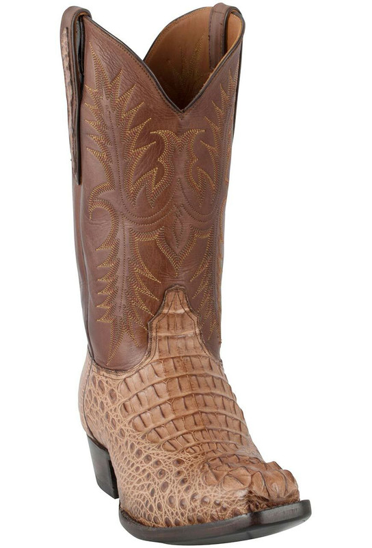Black Jack for Pinto Ranch Men's Glossy Cigar Hornback Caiman Headcut Boots -Hero