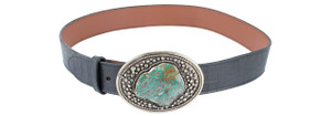 Paige Wallace Oval Turquoise Slab Trophy Buckle Belt