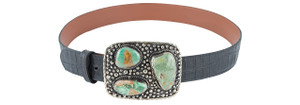 Paige Wallace Three Stone Turquoise Trophy Buckle Belt