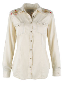Ryan Michael Sand Washed Embroidered Snap Shirt - Front