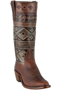 Rios of Mercedes Women's Coffee Santa Fe Embossed Bison Boots - Hero