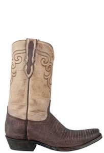 Black Jack for Pinto Ranch Men's Chocolate Sanded Lizard Boots - Side