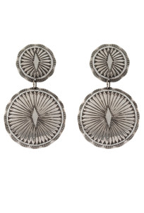 Turquoise Moon Sterling Silver Double Round Concho Earrings