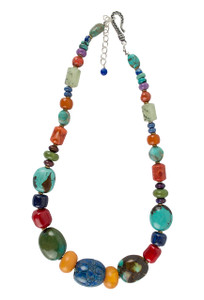 Turquoise Moon Chunky Multi Stone Necklace
