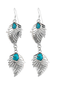Turquoise Moon 2 Sterling Silver Feathers with Blue Turquoise Dangle Earrings