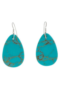Turquoise Moon Blue Turquoise Slab Earrings