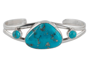 Turquoise Moon 3 Stone Blue Turquoise Cuff