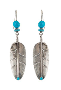 Turquoise Moon Sterling Silver Feather Earrings with Blue Turquoise