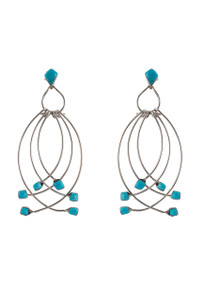 Turquoise Moon Blue Turquoise Swing Earrings
