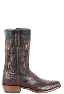 Rios of Mercedes Men's Brown Python Boots - Side