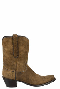 Stallion Women's Vintage Camel Distressed Lamb Suede Boots - Side