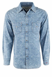 Ryan Michael Telegraph Snap Shirt - Indigo - Front