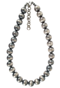 "Turquoise Moon 20"" Sterling Silver Navajo Pearl 16MM Bead Necklace -Full-Shoot"