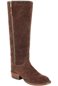 Lucchese Women's Chocolate Suede Repello Zipper Boots-Hero