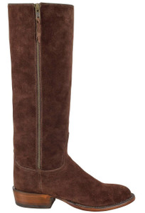 Lucchese Women's Chocolate Suede Repello Zipper Boots-Side