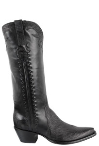 Stallion Women's Black Lizard Triad Boots - Side