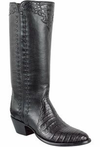 Stallion Women's Black Caiman Majestic Zipper Boots - Hero