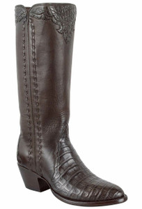 Stallion Women's Chocolate Caiman Majestic Zipper Boots - Hero