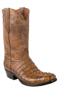 Black Jack for Pinto Ranch Men's Burnished Cognac Caiman Tail Boots